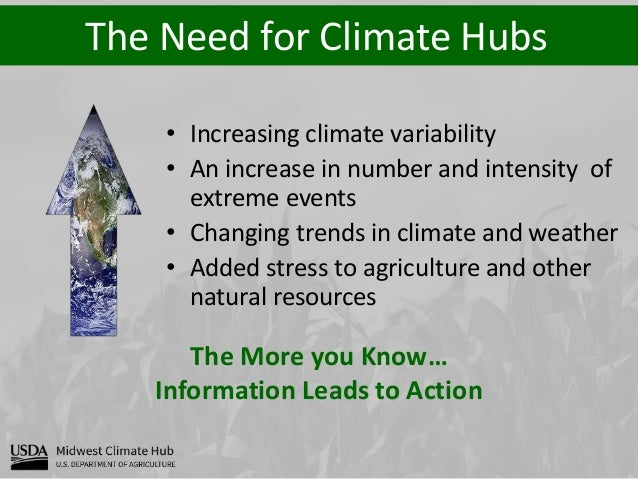 The Need for Climate Hubs The More you Know… Information Leads to Action • Increasing climate variability • An increase in...