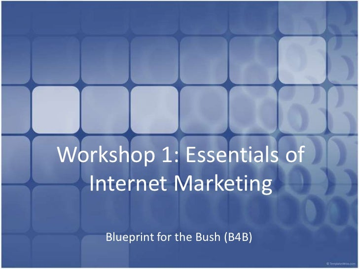Workshop 1: Essentials of Internet Marketing<br />Blueprint for the Bush (B4B)<br />