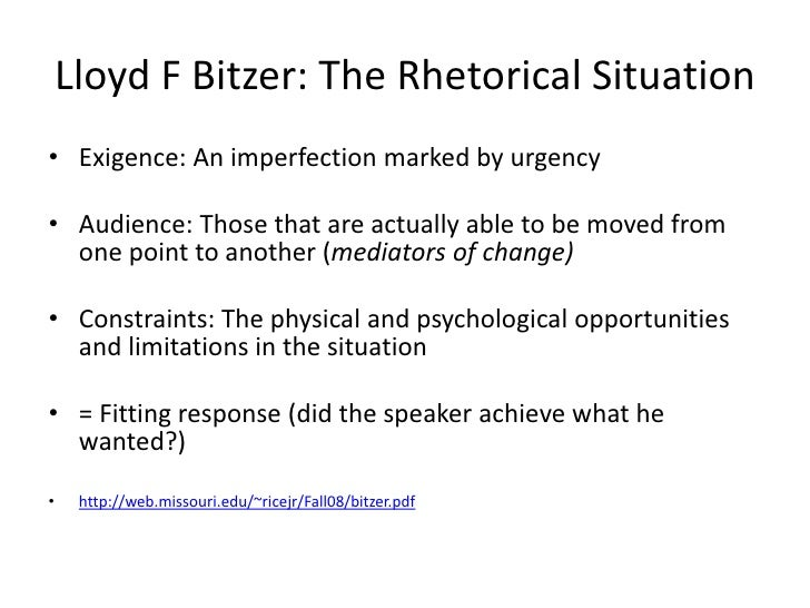 assignment 1 rhetorical situation Understanding the components of the rhetorical situation according to bitzer, and using these terms to analyze rhetoric.