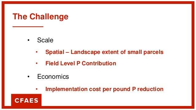 The Challenge • Scale • Spatial – Landscape extent of small parcels • Field Level P Contribution • Economics • Implementat...