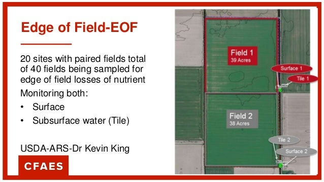 Edge of Field-EOF 20 sites with paired fields total of 40 fields being sampled for edge of field losses of nutrient Monito...