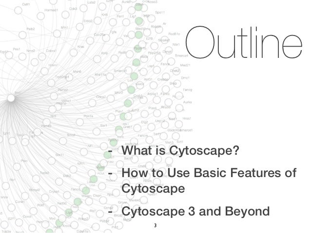 Outline- What is Cytoscape?- How to Use Basic Features of  Cytoscape- Cytoscape 3 and Beyond       3