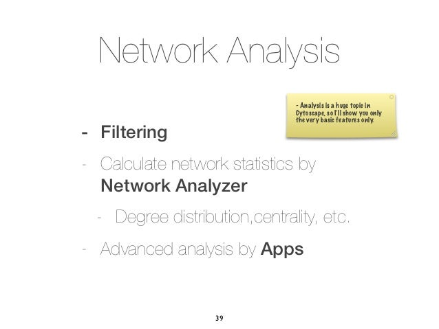 Network Analysis                               - Analysis is a huge topic in                               Cytoscape, so I...
