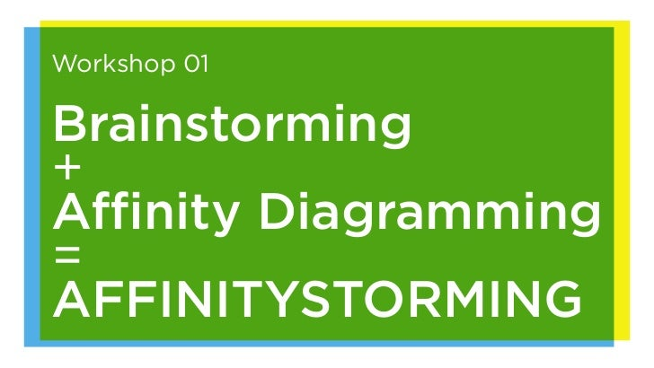 Workshop 01Brainstorming+Affinity Diagramming=AFFINITYSTORMING