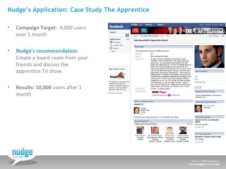 Nudge's Application: Case Study The Apprentice <ul><li>Campaign Target :  4,000 users over 1 month </li></ul><ul><li>Nudge...