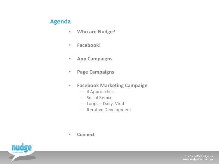 Agenda <ul><li>Who are Nudge? </li></ul><ul><li>Facebook! </li></ul><ul><li>App Campaigns </li></ul><ul><li>Page Campaigns...