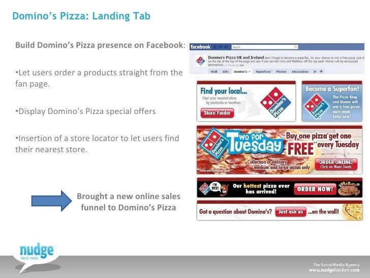 Domino's Pizza: Landing Tab <ul><li>Build Domino's Pizza presence on Facebook : </li></ul><ul><li>Let users order a produc...