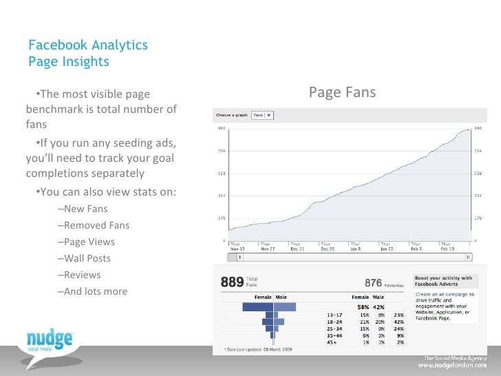Facebook Analytics Page Insights <ul><li>The most visible page benchmark is total number of fans </li></ul><ul><li>If you ...
