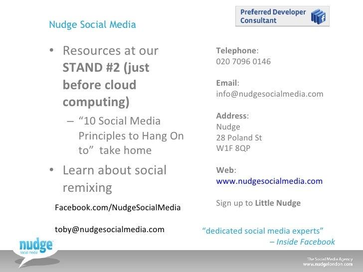 """Nudge Social Media <ul><li>Resources at our  STAND #2 (just before cloud computing) </li></ul><ul><ul><li>"""" 10 Social Medi..."""