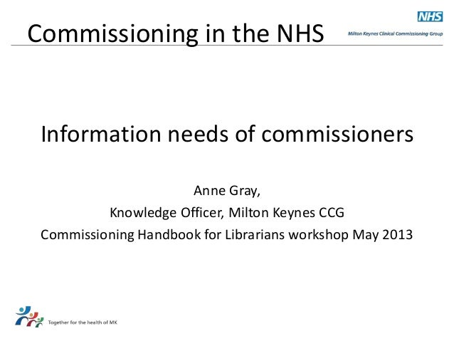 Commissioning in the NHS  Information needs of commissioners Anne Gray, Knowledge Officer, Milton Keynes CCG Commissioning...