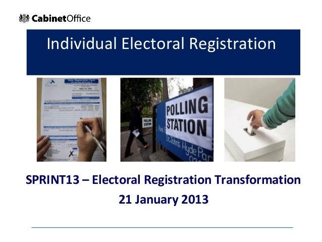 Individual Electoral RegistrationSPRINT13 – Electoral Registration Transformation                21 January 2013          ...