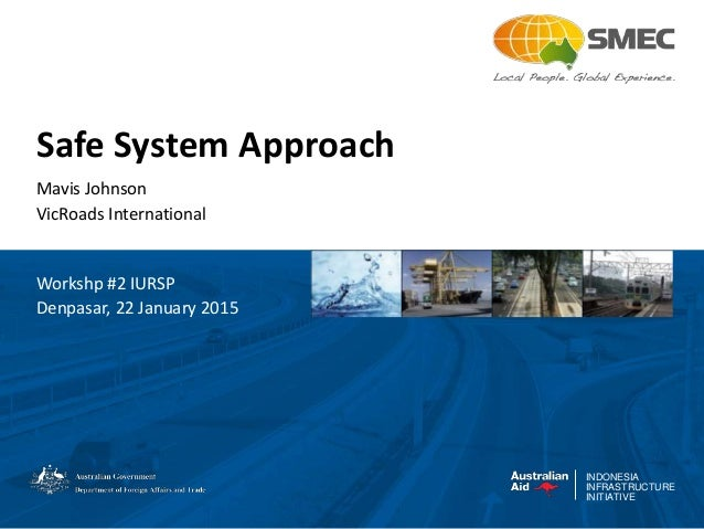 INDONESIA INFRASTRUCTURE INITIATIVE Safe System Approach Mavis Johnson VicRoads International Workshp #2 IURSP Denpasar, 2...