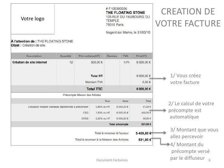 R aliser ses factures avec pr compte factomos for Agessa ou maison des artistes