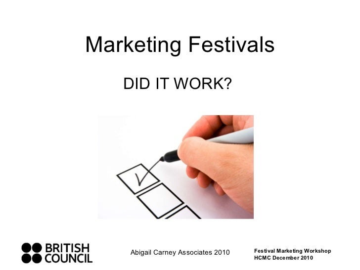 Marketing Festivals DID IT WORK?  Abigail Carney Associates 2010 Festival Marketing Workshop HCMC December 2010