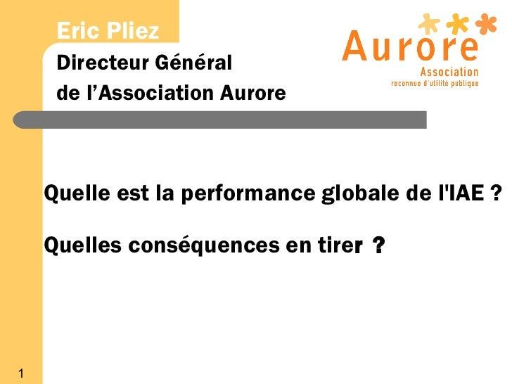 Eric Pliez     Directeur Général     de l'Association Aurore    Quelle est la performance globale de lIAE ?    Quelles con...