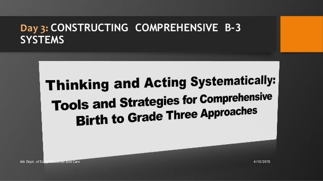 Day 3: CONSTRUCTING COMPREHENSIVE B-3 SYSTEMS 4/10/2015MA Dept. of Early Education and Care