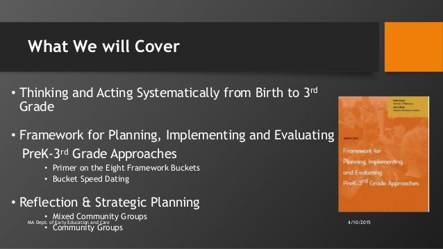 What We will Cover • Thinking and Acting Systematically from Birth to 3rd Grade • Framework for Planning, Implementing and...