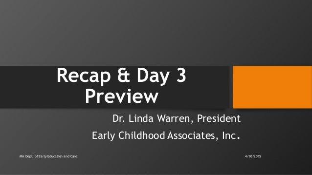 Early Educators Leadership Institute 2015: Workshop 3, Part 1 of 2 Slide 3