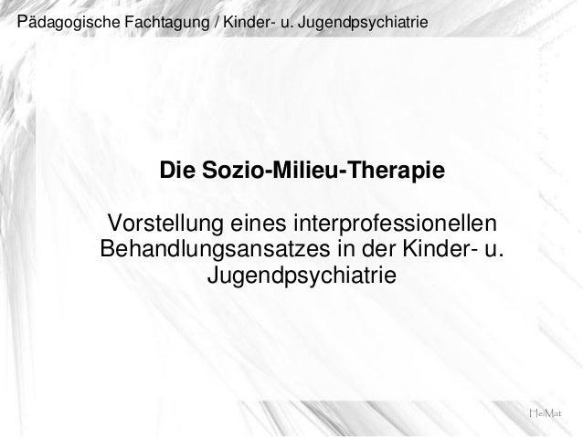 Pädagogische Fachtagung / Kinder- u. JugendpsychiatrieDie Sozio-Milieu-TherapieVorstellung eines interprofessionellenBehan...
