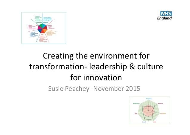 Creatingtheenvironmentfor transformation‐ leadership&culture forinnovation SusiePeachey‐ November2015