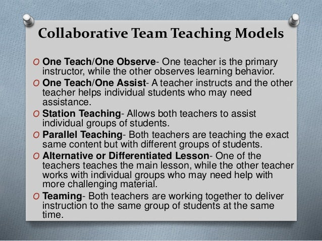Collaborative Teaching Models : Workshop collaborative teaching