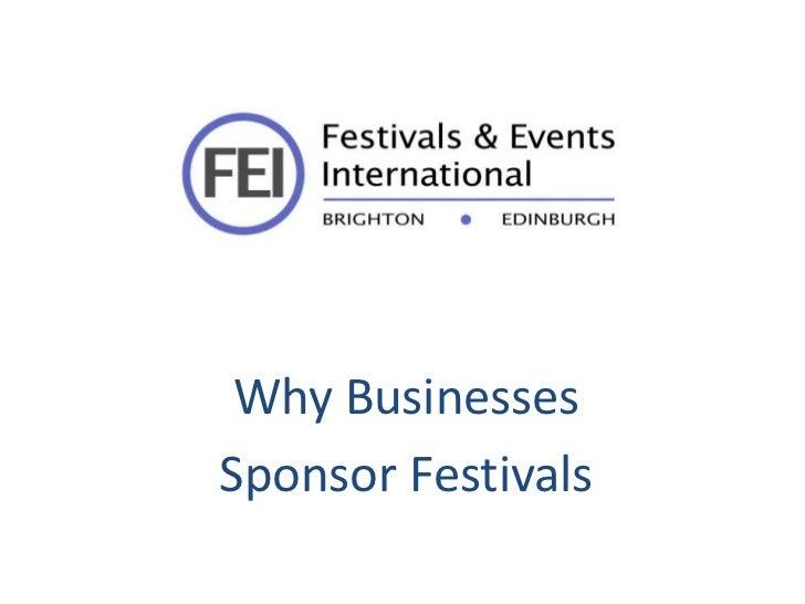 Why BusinessesSponsor Festivals