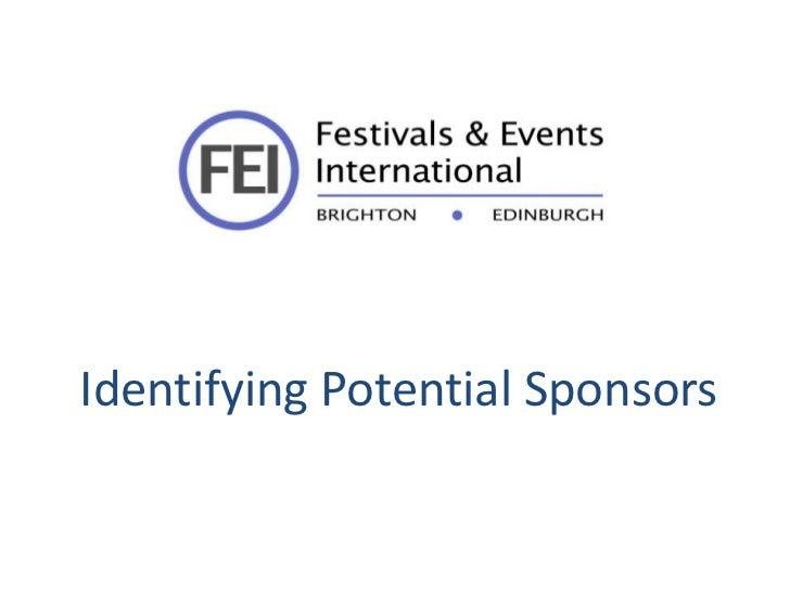 Identifying Potential Sponsors