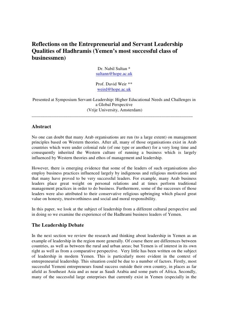 Reflections on the Entrepreneurial and Servant LeadershipQualities of Hadhramis (Yemen's most successful class ofbusinessm...