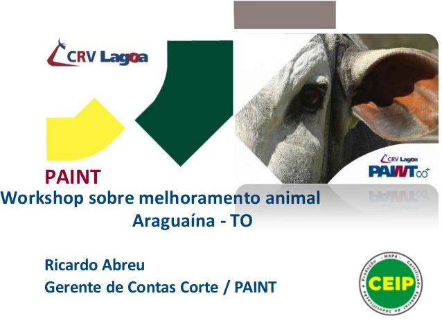 PAINT Workshop sobre melhoramento animal Araguaína - TO Ricardo Abreu Gerente de Contas Corte / PAINT