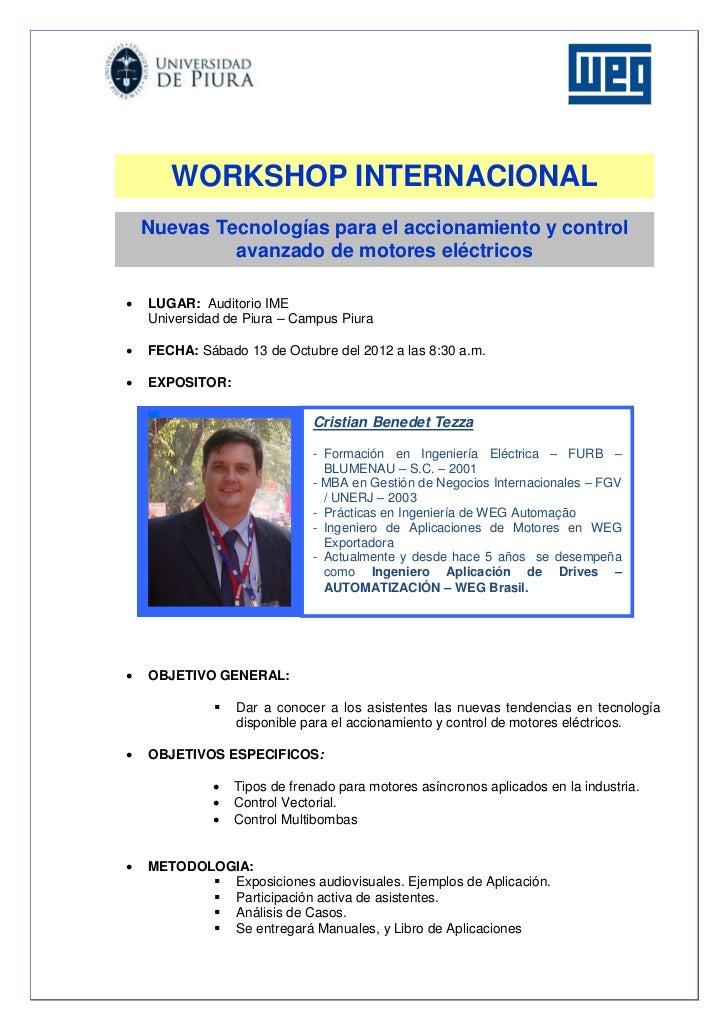 WORKSHOP INTERNACIONAL    Nuevas Tecnologías para el accionamiento y control             avanzado de motores eléctricos  ...