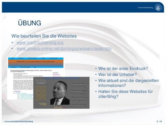 S. 18Universitätsbibliothek Bamberg Wie beurteilen Sie die Websites • www.martinlutherking.org • www.oliveira-online.net/d...