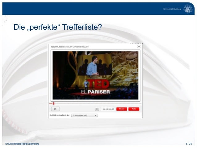 "S. 25Universitätsbibliothek Bamberg Die ""perfekte"" Trefferliste?"
