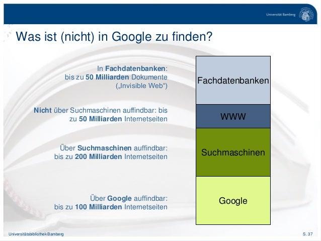 S. 37Universitätsbibliothek Bamberg Was ist (nicht) in Google zu finden? Über Google auffindbar: bis zu 100 Milliarden Int...