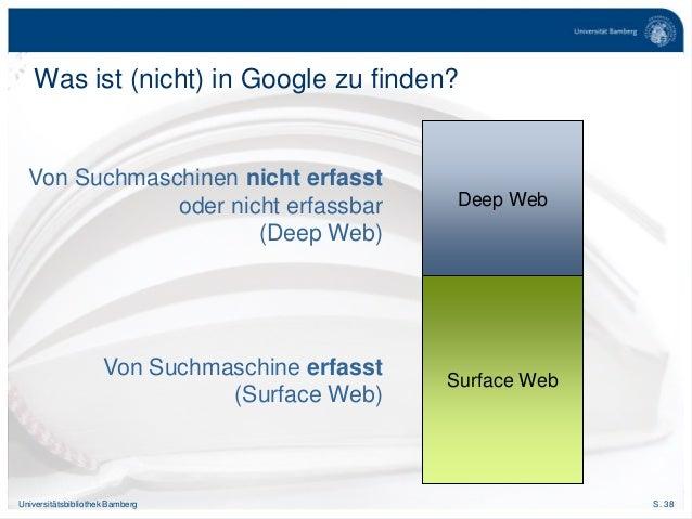 S. 38Universitätsbibliothek Bamberg Was ist (nicht) in Google zu finden? Surface Web Deep Web Von Suchmaschinen nicht erfa...