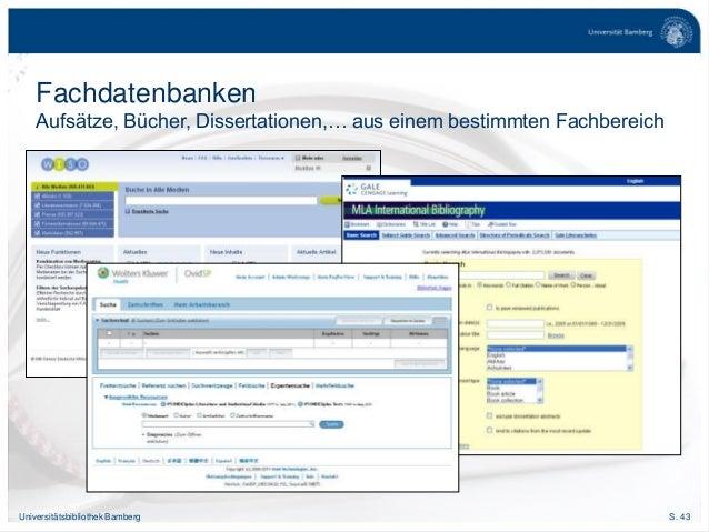S. 43Universitätsbibliothek Bamberg Fachdatenbanken Aufsätze, Bücher, Dissertationen,… aus einem bestimmten Fachbereich