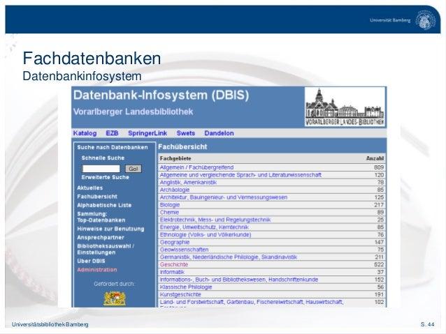 S. 44Universitätsbibliothek Bamberg Fachdatenbanken Datenbankinfosystem