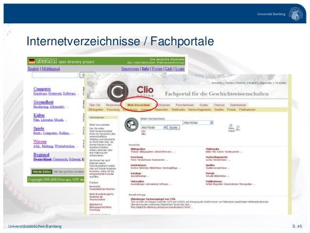 S. 45Universitätsbibliothek Bamberg Internetverzeichnisse / Fachportale
