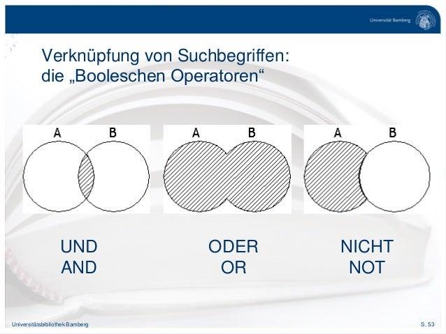 """S. 53Universitätsbibliothek Bamberg Verknüpfung von Suchbegriffen: die """"Booleschen Operatoren"""" UND AND ODER OR NICHT NOT"""