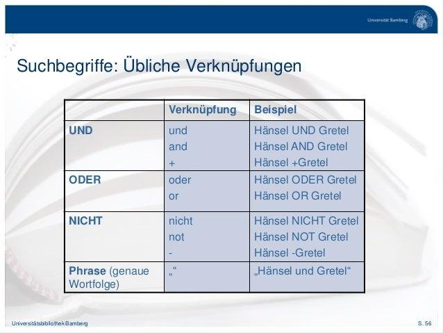 S. 56Universitätsbibliothek Bamberg Suchbegriffe: Übliche Verknüpfungen Verknüpfung Beispiel UND und and + Hänsel UND Gret...