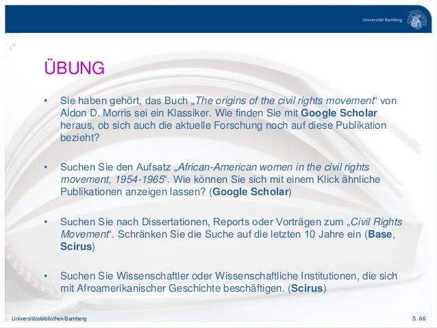 """S. 66Universitätsbibliothek Bamberg ÜBUNG • Sie haben gehört, das Buch """"The origins of the civil rights movement"""" von Aldo..."""