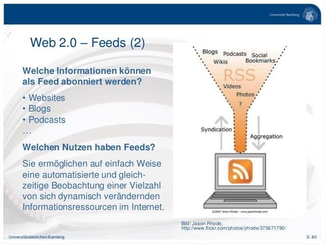 S. 80Universitätsbibliothek Bamberg Welche Informationen können als Feed abonniert werden? • Websites • Blogs • Podcasts …...