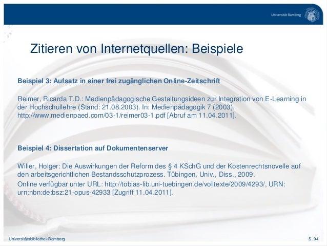S. 94Universitätsbibliothek Bamberg Zitieren von Internetquellen: Beispiele Beispiel 3: Aufsatz in einer frei zugänglichen...