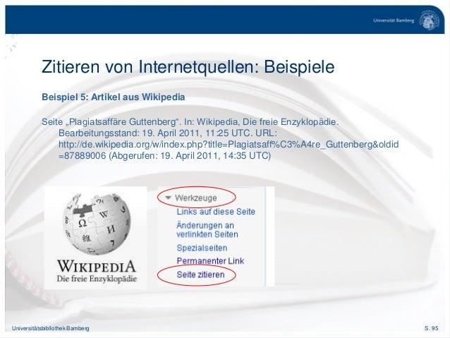 """S. 95Universitätsbibliothek Bamberg Beispiel 5: Artikel aus Wikipedia Seite """"Plagiatsaffäre Guttenberg"""". In: Wikipedia, Di..."""