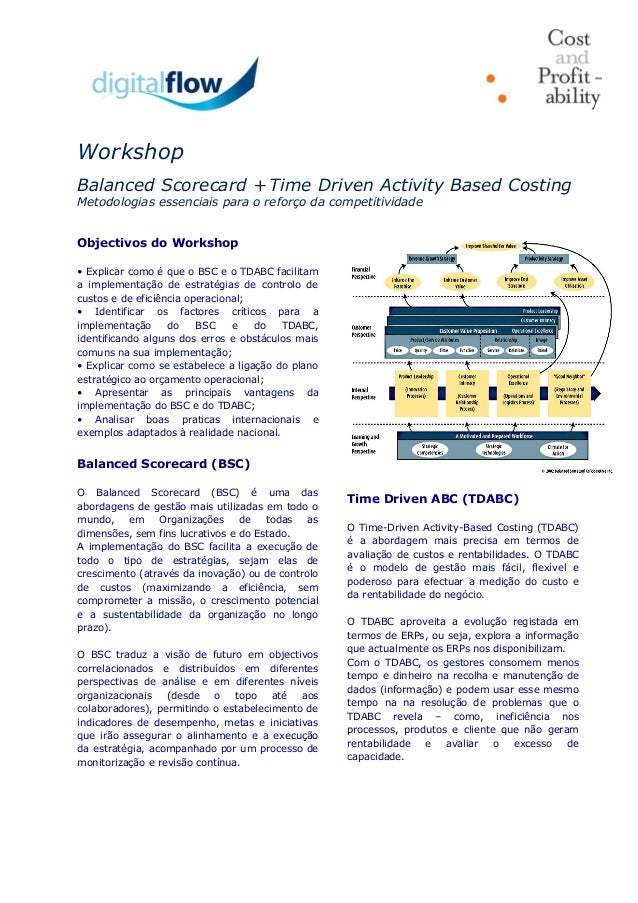 Workshop Balanced Scorecard + Time Driven Activity Based Costing Metodologias essenciais para o reforço da competitividade...
