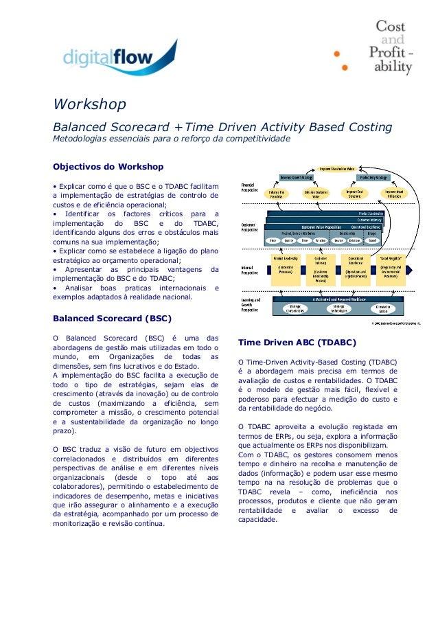Workshop Balanced Scorecard + Time Driven Activity Based Costing Metodologias essenciais para o reforço da competitividade...