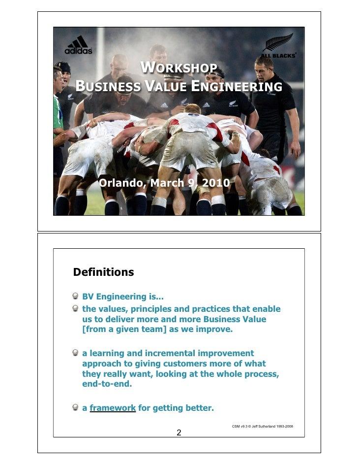 Workshop Business Value Engineering Mar 2010