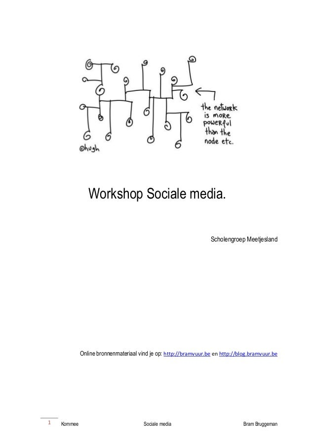 Kommee Sociale media Bram Bruggeman  1  Workshop Sociale media.  Scholengroep Meetjesland  Online bronnenmateriaal vind je...