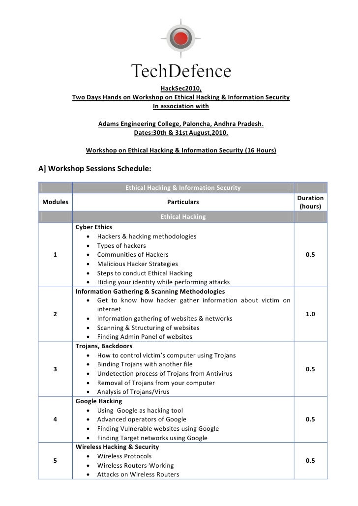 HackSec2010,            Two Days Hands on Workshop on Ethical Hacking & Information Security                              ...