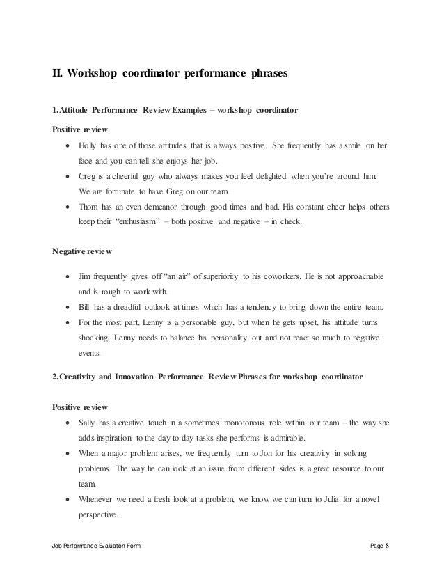 Workshop coordinator performance appraisal – Workshop Evaluation Forms