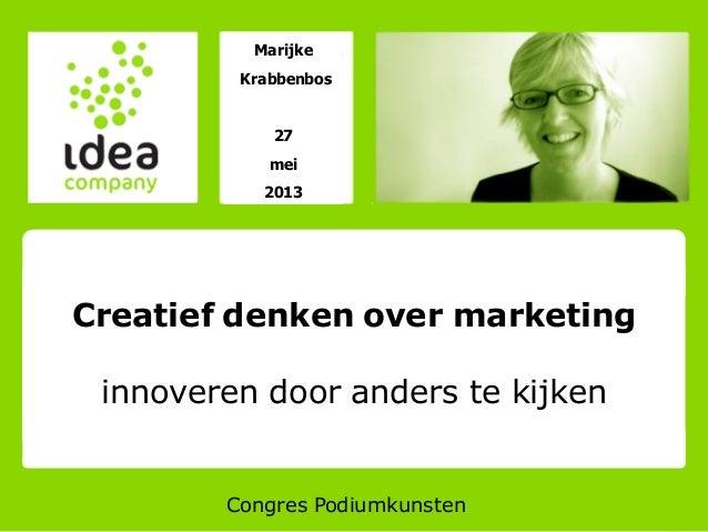 MarijkeKrabbenbos27mei2013Congres PodiumkunstenCreatief denken over marketinginnoveren door anders te kijken